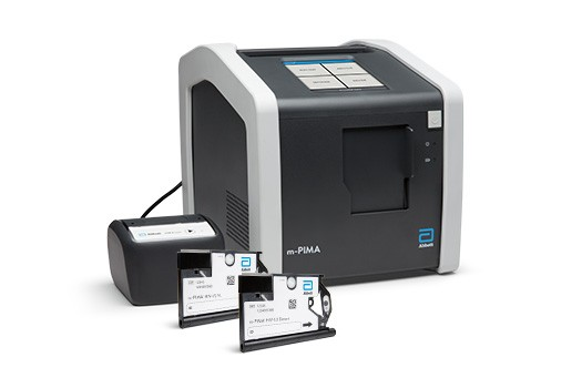 m-PIMA analyzer, printer, power drum, and Viral Load and HIV Detect Cartridges